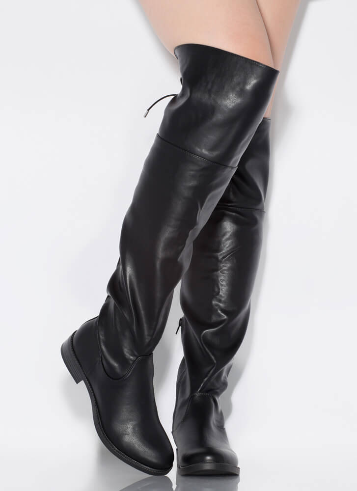 Huntress Flat Tie-Back Thigh-High Boots BLACK