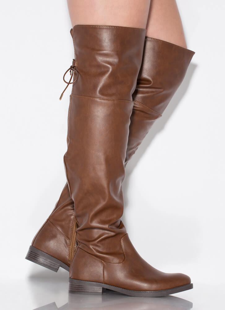 Huntress Flat Tie-Back Thigh-High Boots CHESTNUT