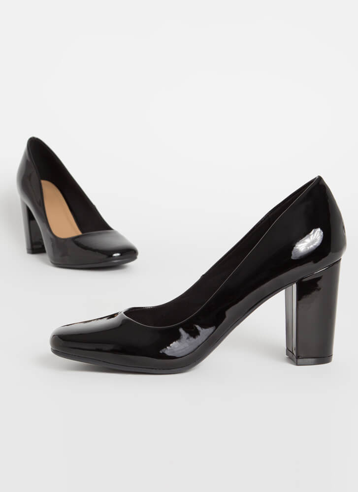 Pair Off Chunky Faux Patent Pumps BLACK