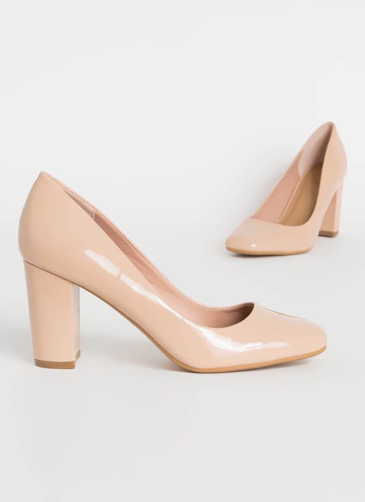 Pair Off Chunky Faux Patent Pumps NUDE