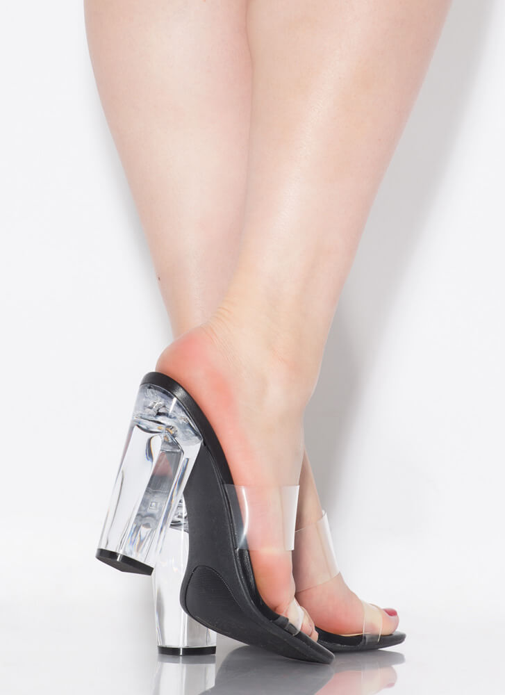 See Clearly Chunky Lucite Illusion Heels BLACK