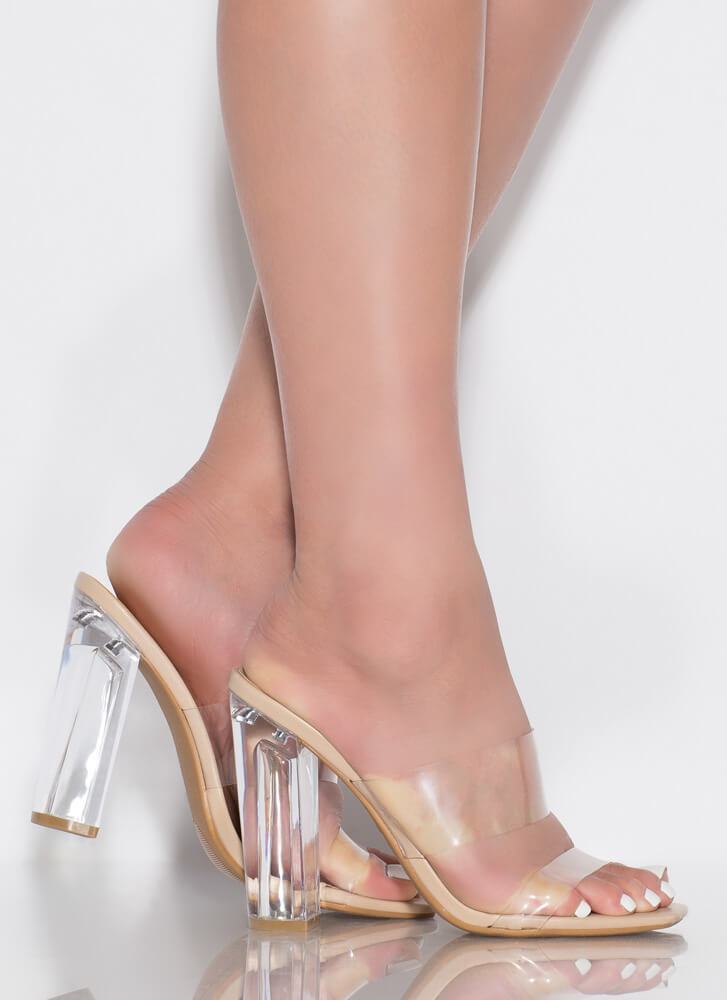 See Clearly Chunky Lucite Illusion Heels NUDE