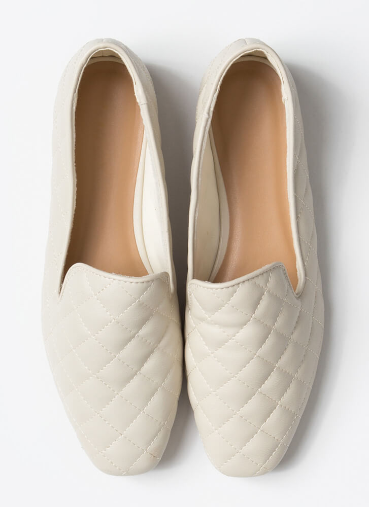 Peak Of Fashion Quilted Smoking Flats IVORY