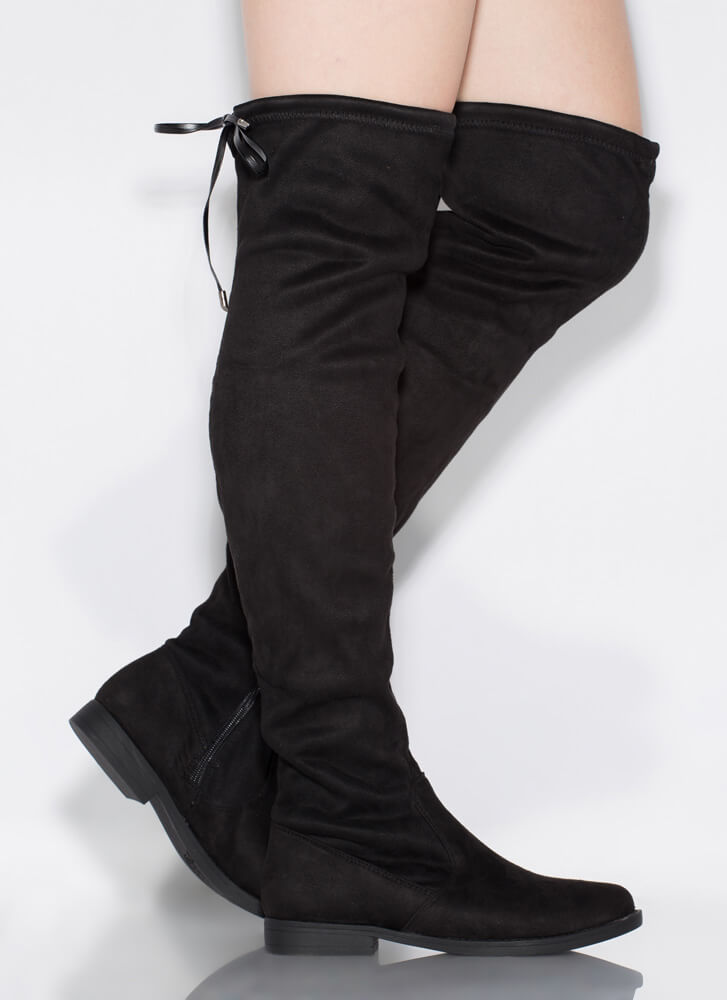 Keep It Simple Tied Over-The-Knee Boots BLACK