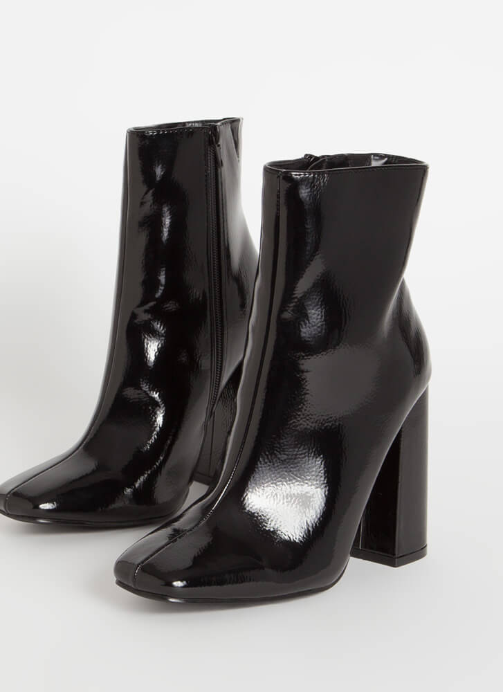 Retro Vibes Chunky Faux Patent Booties BLACK