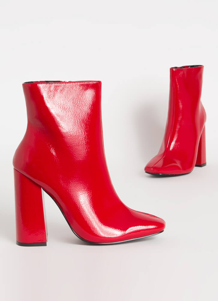 Retro Vibes Chunky Faux Patent Booties RED