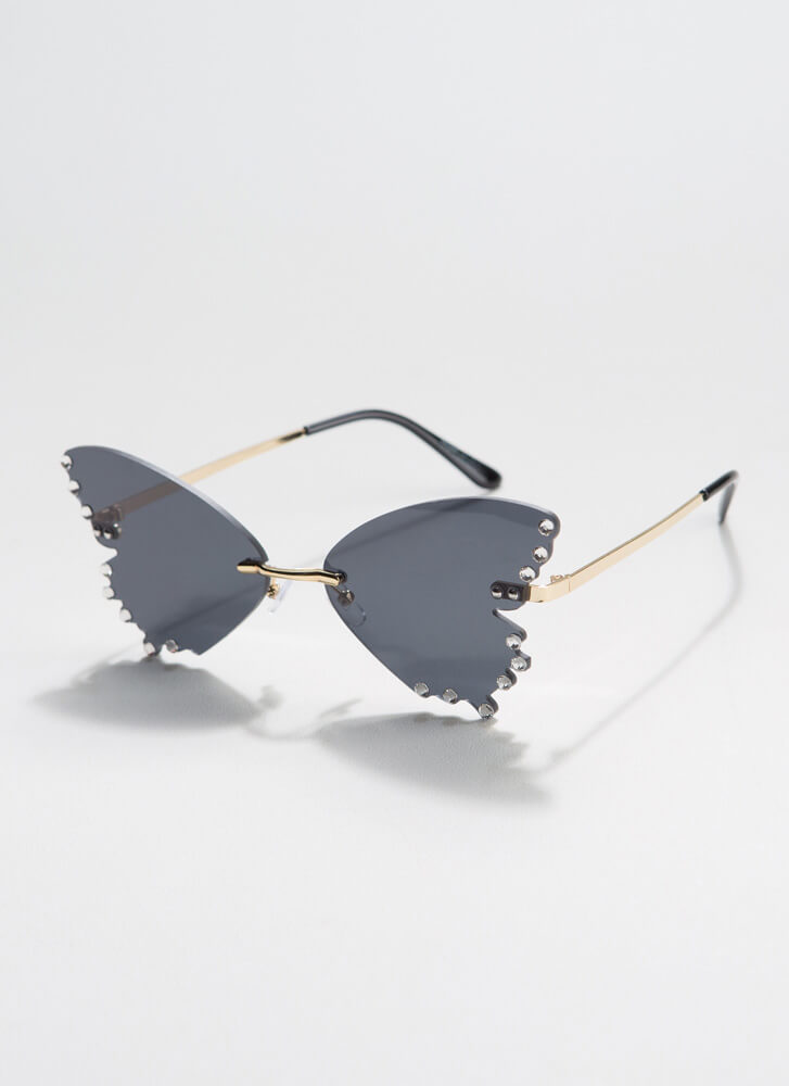 Become A Butterfly Jeweled Sunglasses BLACK