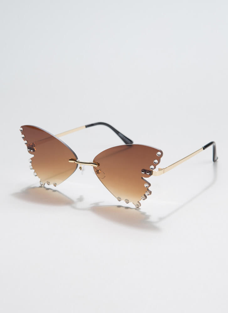 Become A Butterfly Jeweled Sunglasses BROWN