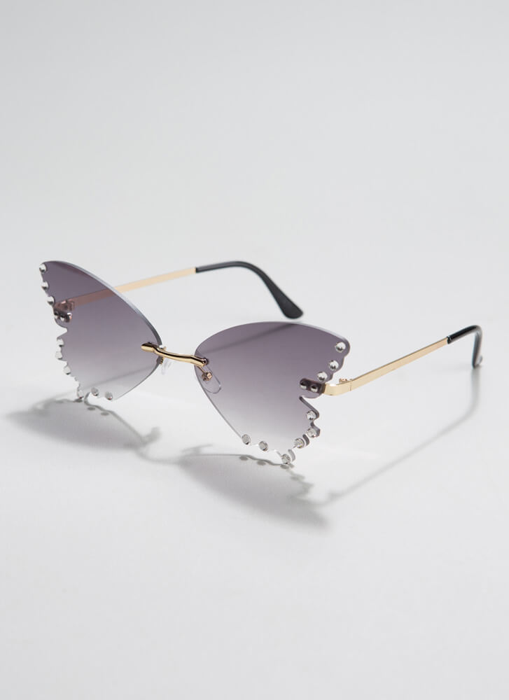 Become A Butterfly Jeweled Sunglasses GREY
