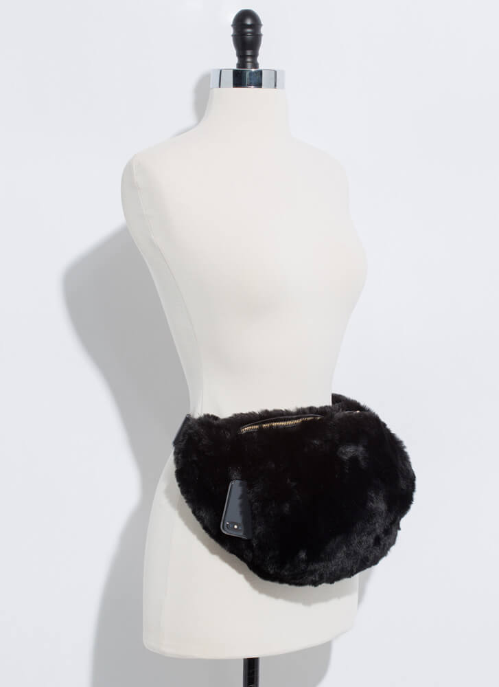 Warming Up Faux Fur Muff Fanny Pack BLACK