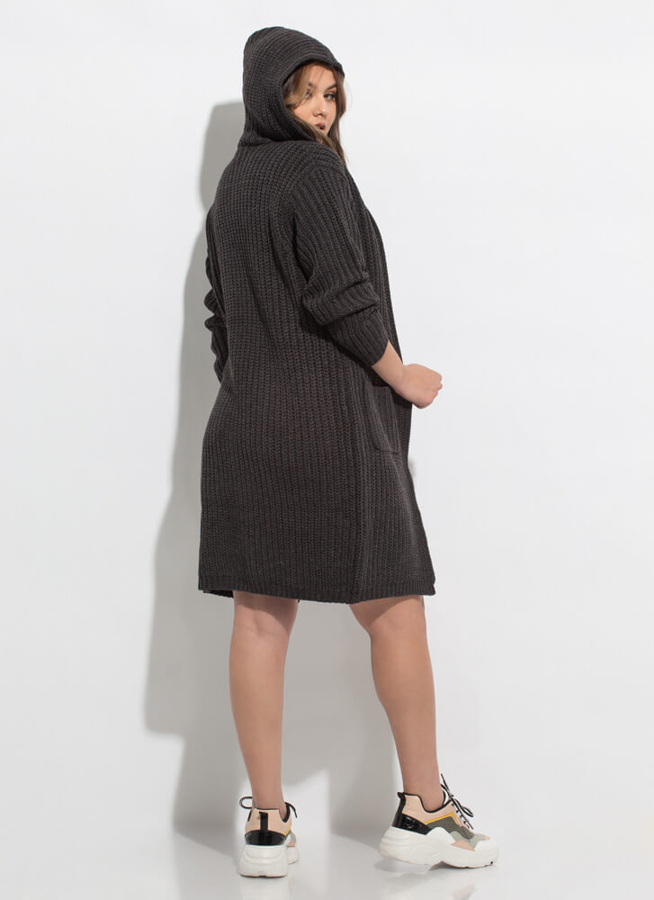 Warm Thoughts Hooded Longline Cardigan CHARCOAL