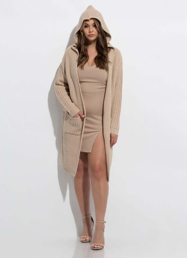 Warm Thoughts Hooded Longline Cardigan TAUPE