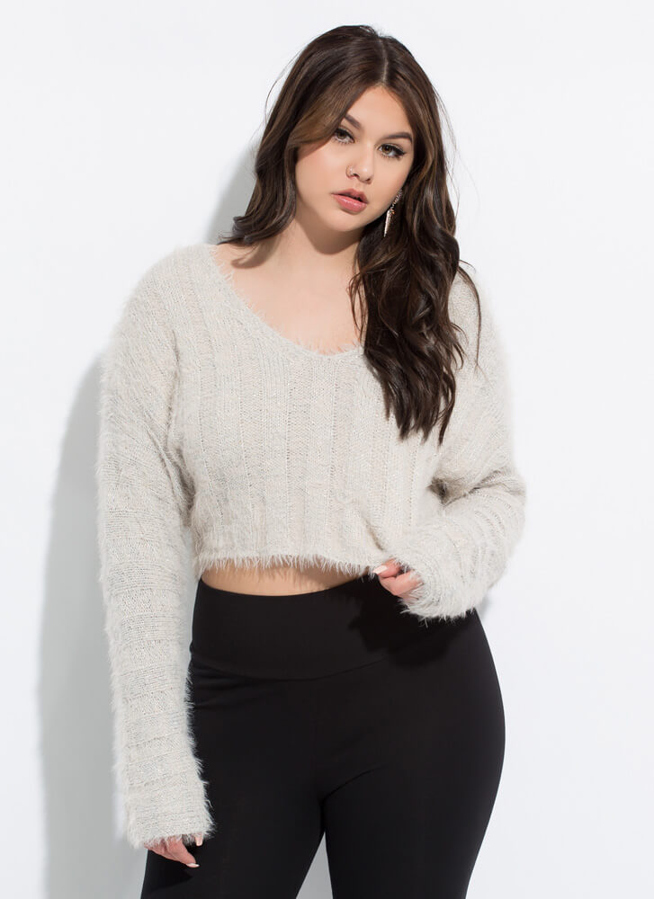 It Sparkles Cropped Fuzzy Knit Sweater SILVER