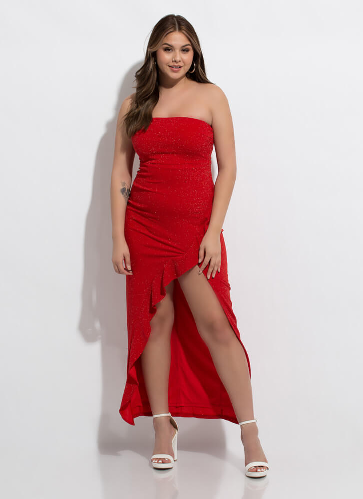 Glittery Nights Ruffled Strapless Gown RED