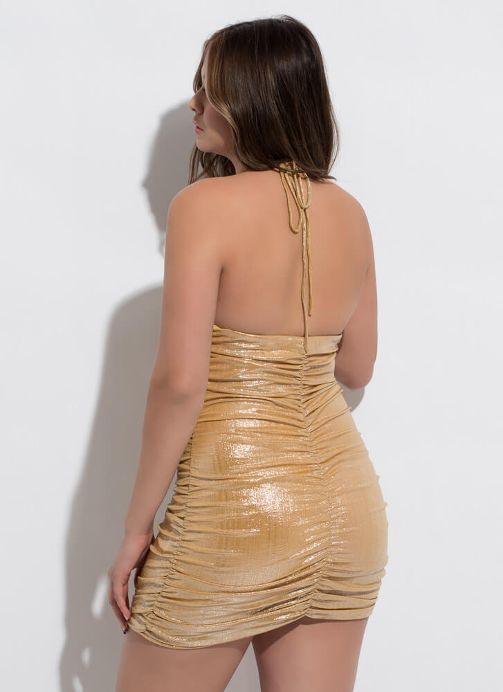 Shirr Is Shiny Ruched Halter Minidress LTGOLD
