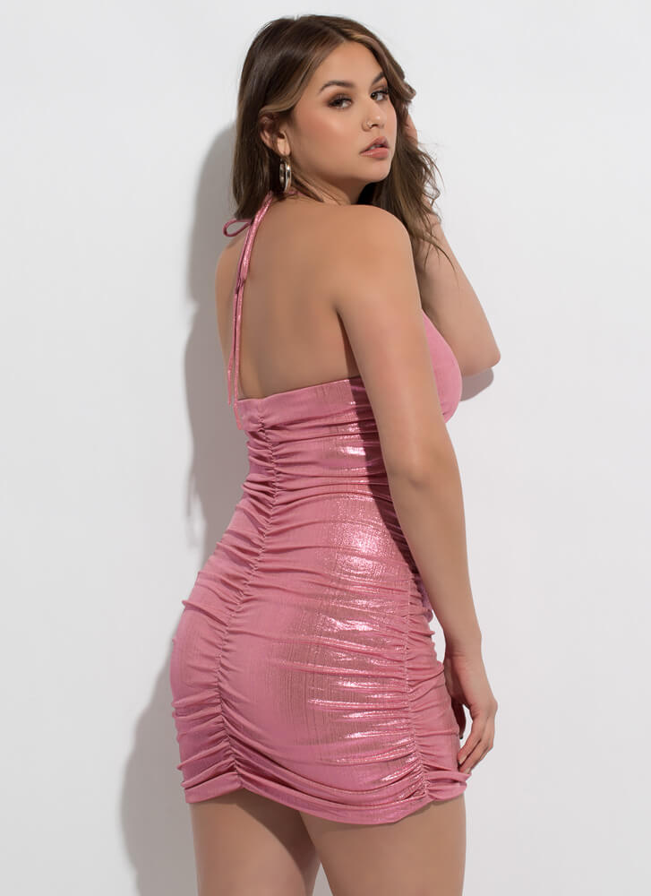 Shirr Is Shiny Ruched Halter Minidress PINK