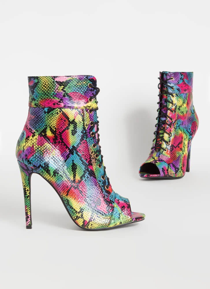 Everything Snake Lace-Up Booties MULTI