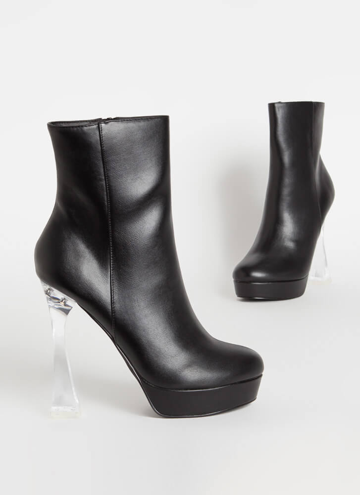 Chic Illusion Clear Lucite Heel Booties BLACK