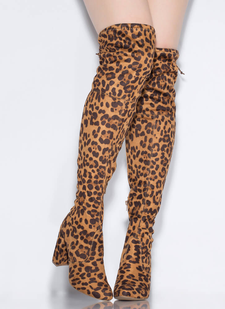 Leg Up Chunky Tied Thigh-High Boots LEOPARD