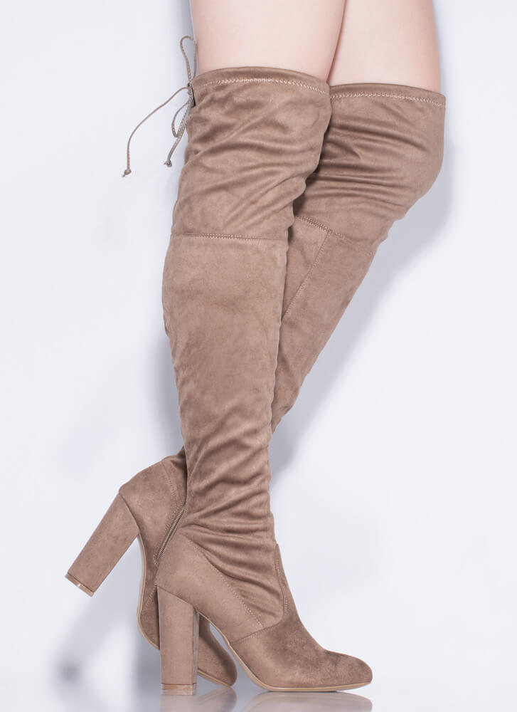 Leg Up Chunky Tied Thigh-High Boots TAUPE