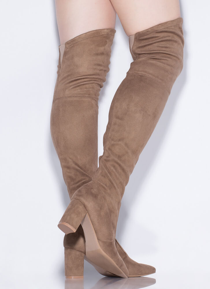 Hit 'Em High-Low Thigh-High Boots TAUPE