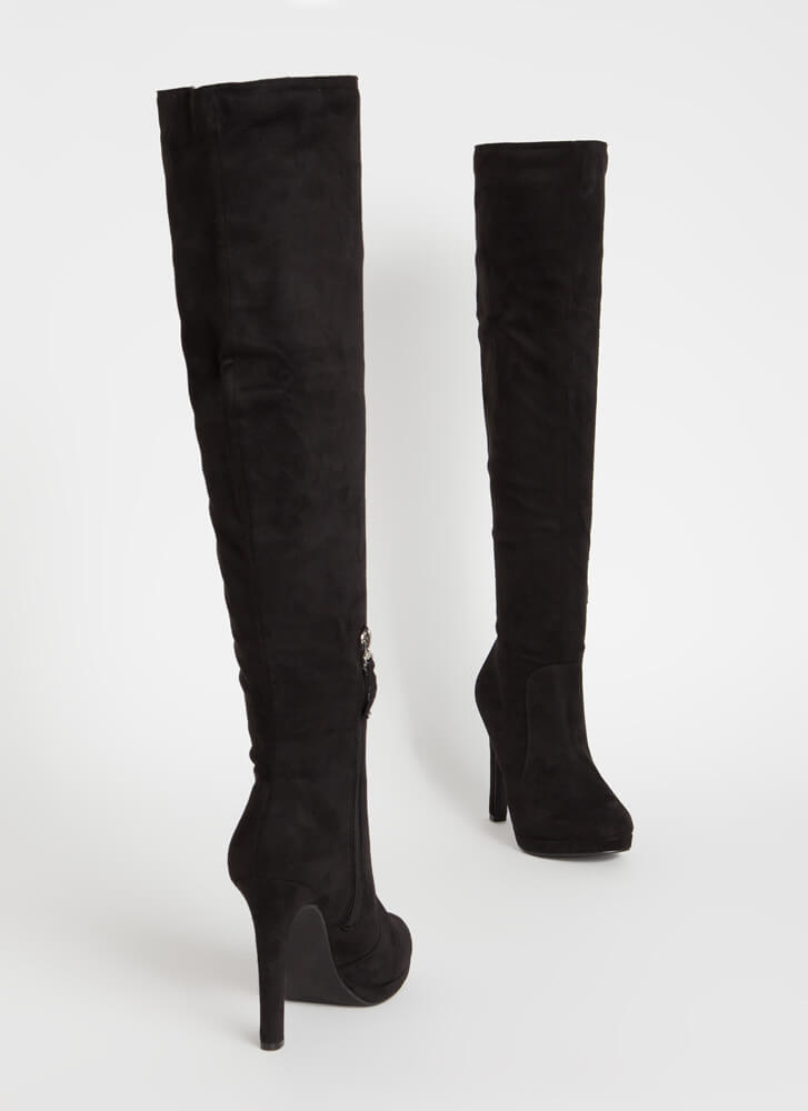 Stand Tall Over-The-Knee Faux Suede Boots BLACK