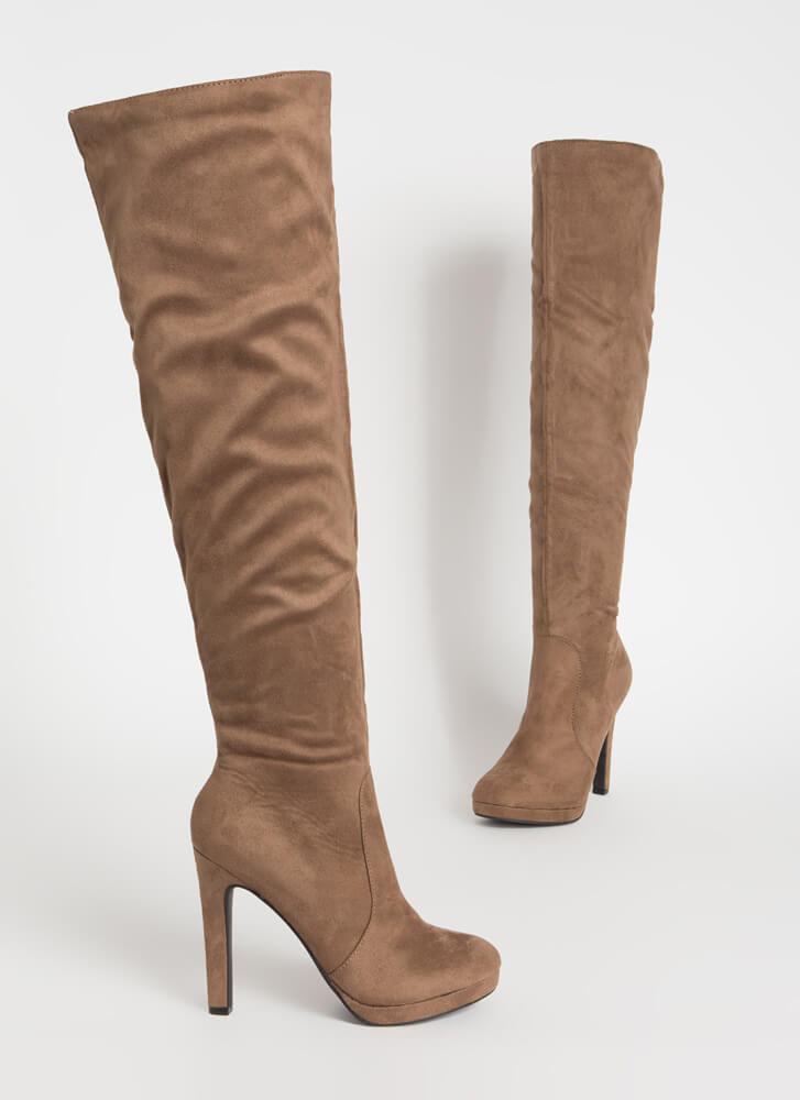Stand Tall Over-The-Knee Faux Suede Boots TAUPE
