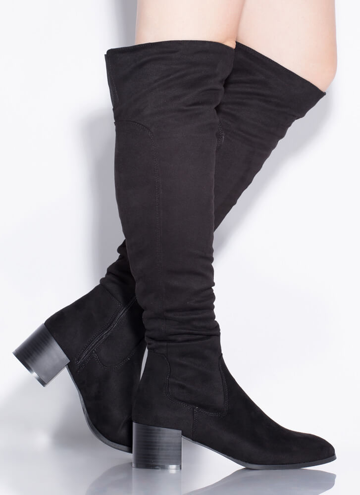 It Girl Over-The-Knee Block Heel Boots BLACK