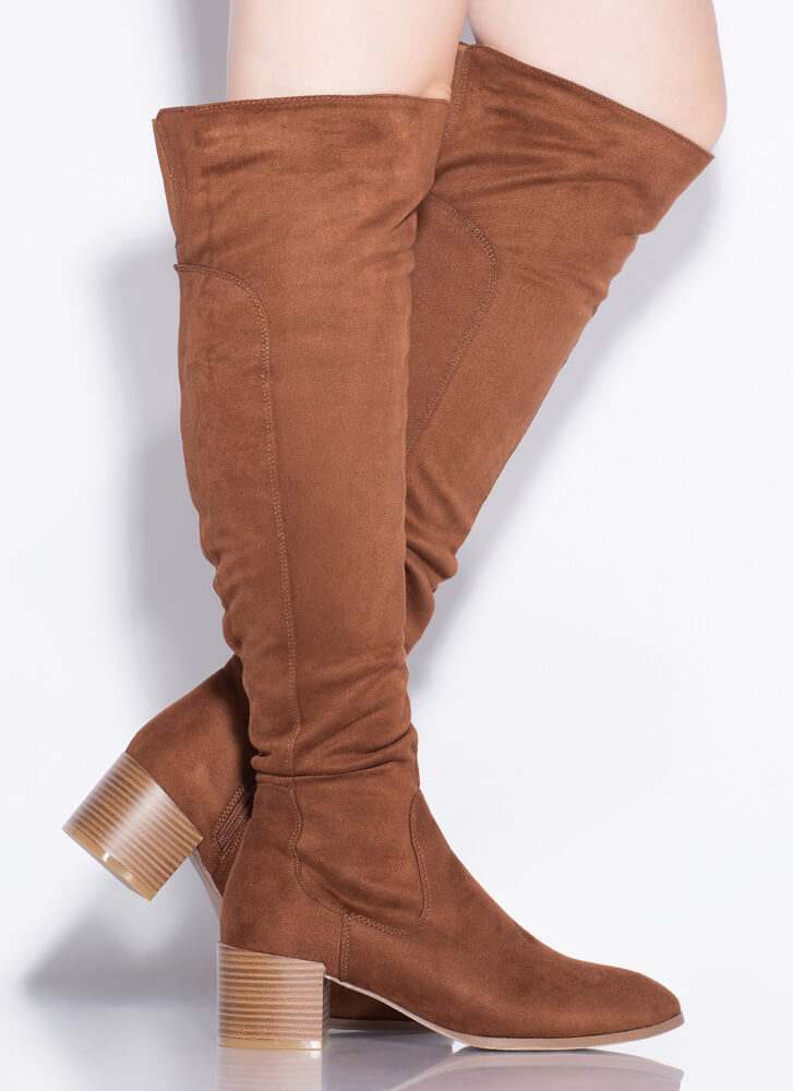 It Girl Over-The-Knee Block Heel Boots BROWN