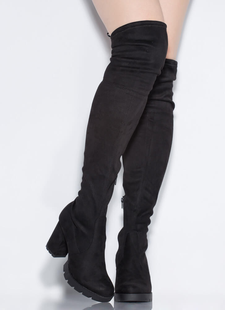 Feeling Rugged Tied Thigh-High Boots BLACK