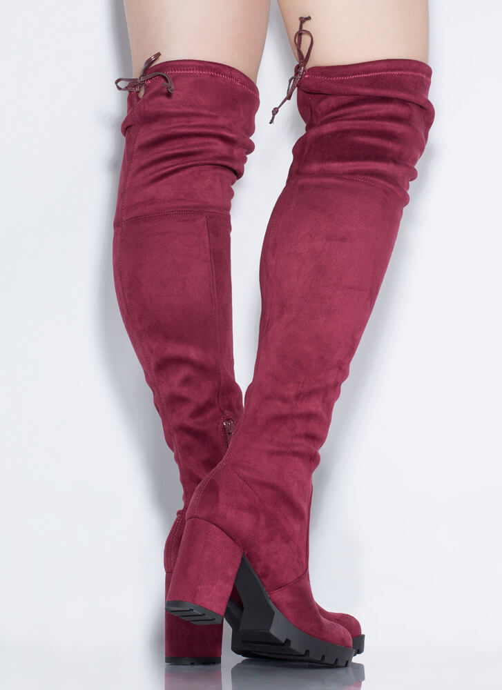 Feeling Rugged Tied Thigh-High Boots BURGUNDY