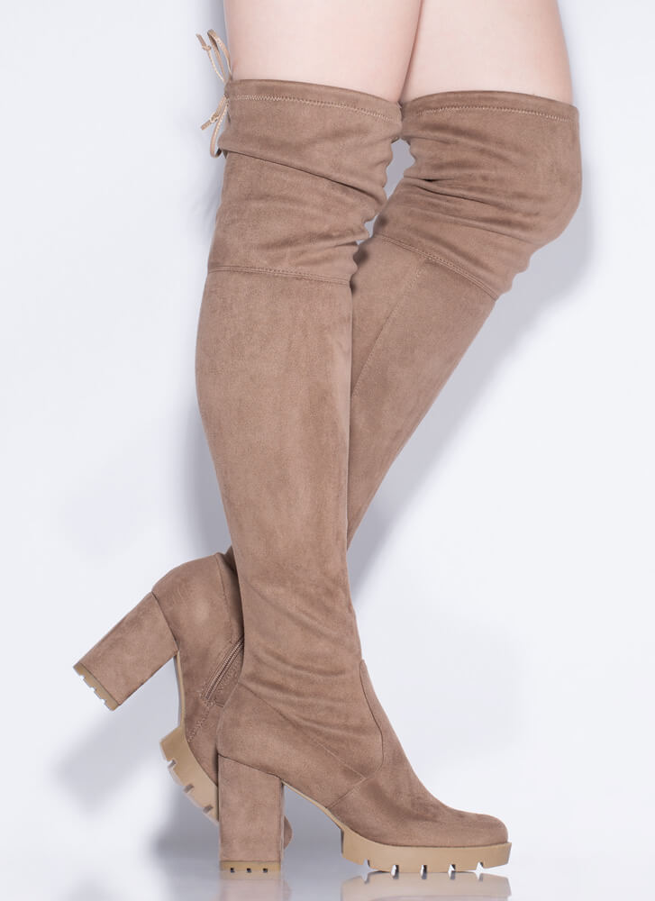 Feeling Rugged Tied Thigh-High Boots TAUPE