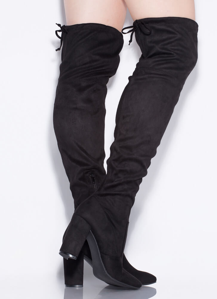 Slay Day Chunky Tied Thigh-High Boots BLACK
