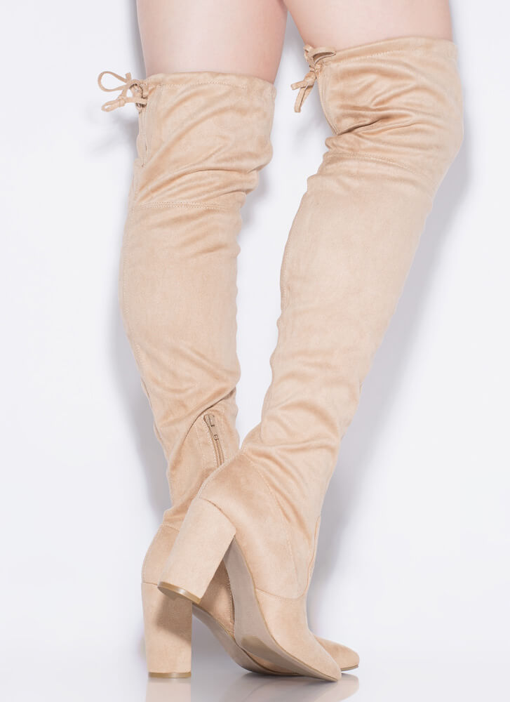 Slay Day Chunky Tied Thigh-High Boots NATURAL