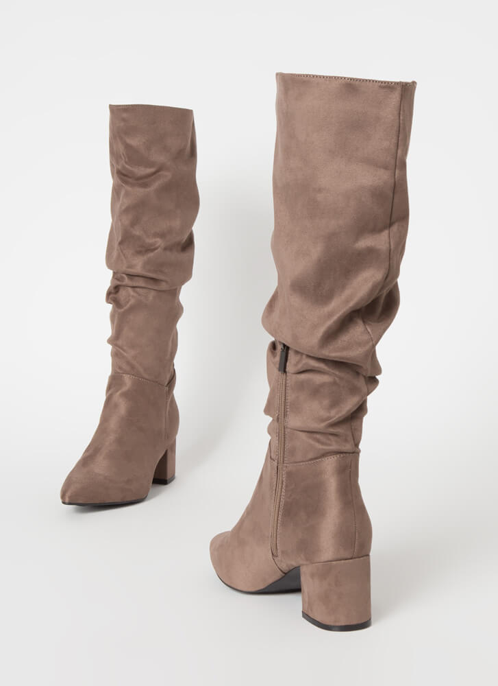 Get Slouchy Block Heel Knee-High Boots TAUPE