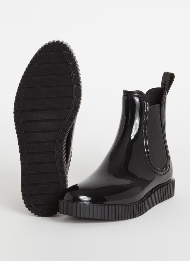 Ready For Anything Glossy Jelly Booties BLACK (Final Sale)