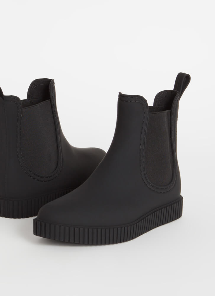 Ready For Anything Matte Jelly Booties BLACK