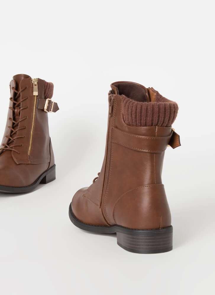 Sock It To Me Knit Cuff Combat Boots CHESTNUT