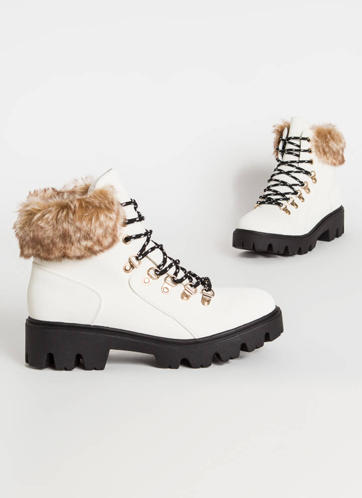 Iconic Faux Nubuck Fur-Cuffed Boots WHITE