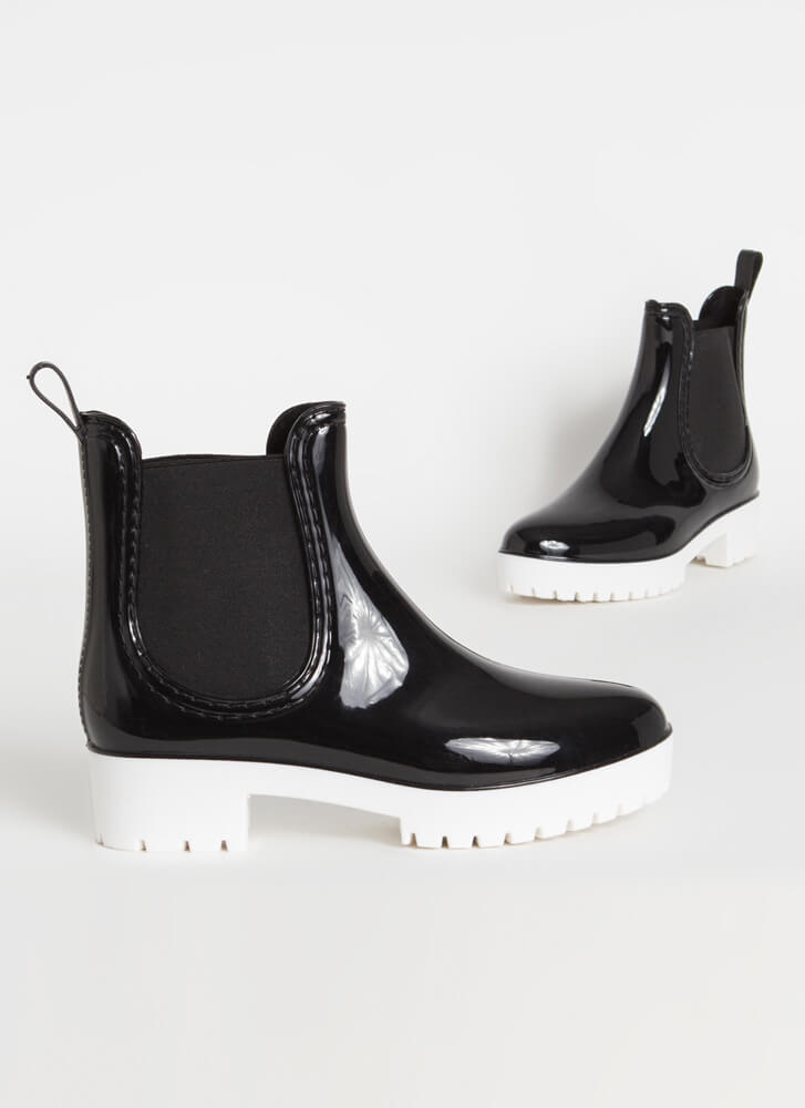 Oh My Galosh Glossy Jelly Booties BLACK