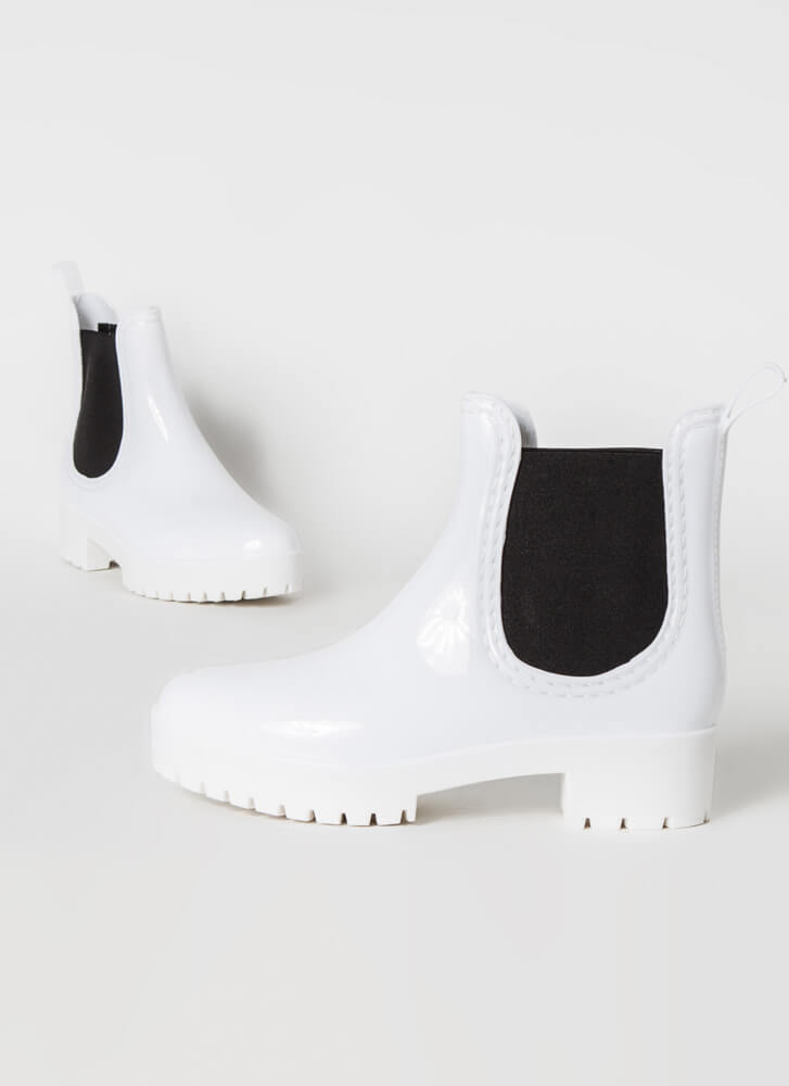 Oh My Galosh Glossy Jelly Booties WHITE