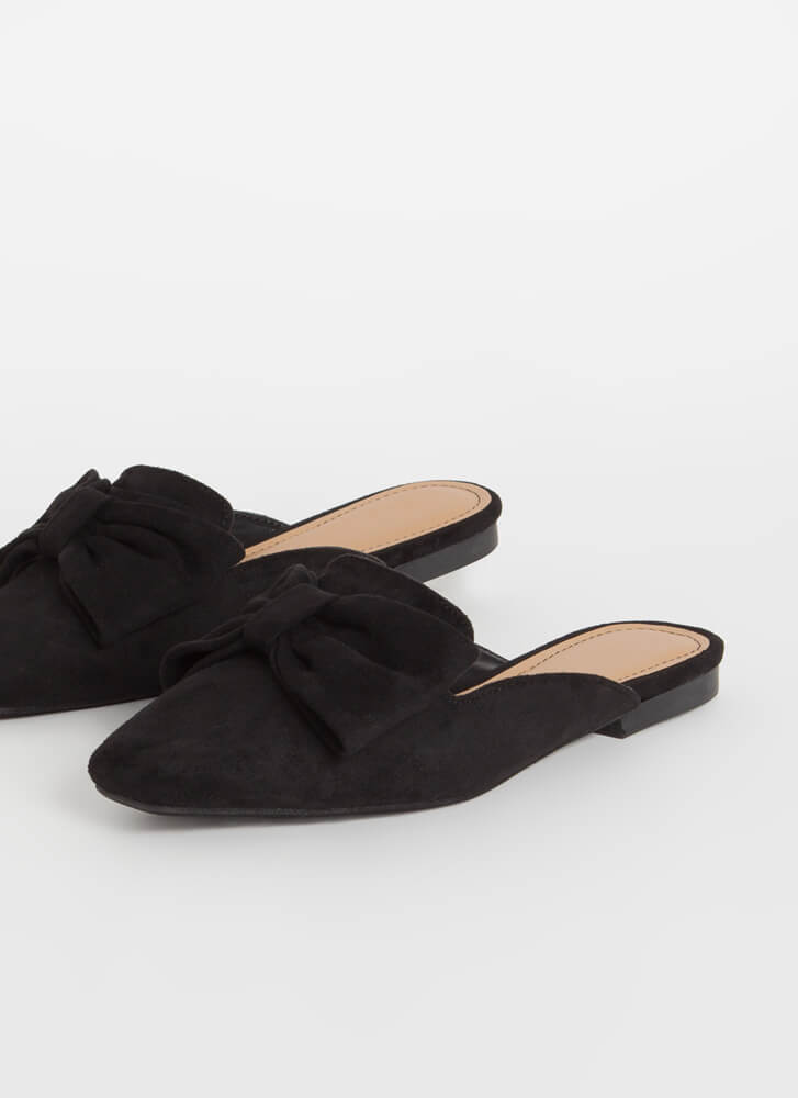 It's Time To Bow Up Faux Suede Mule Flats BLACK