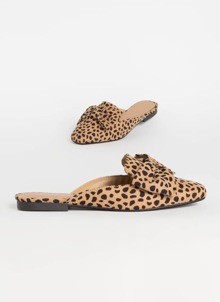 It's Time To Bow Up Faux Suede Mule Flats CHEETAH