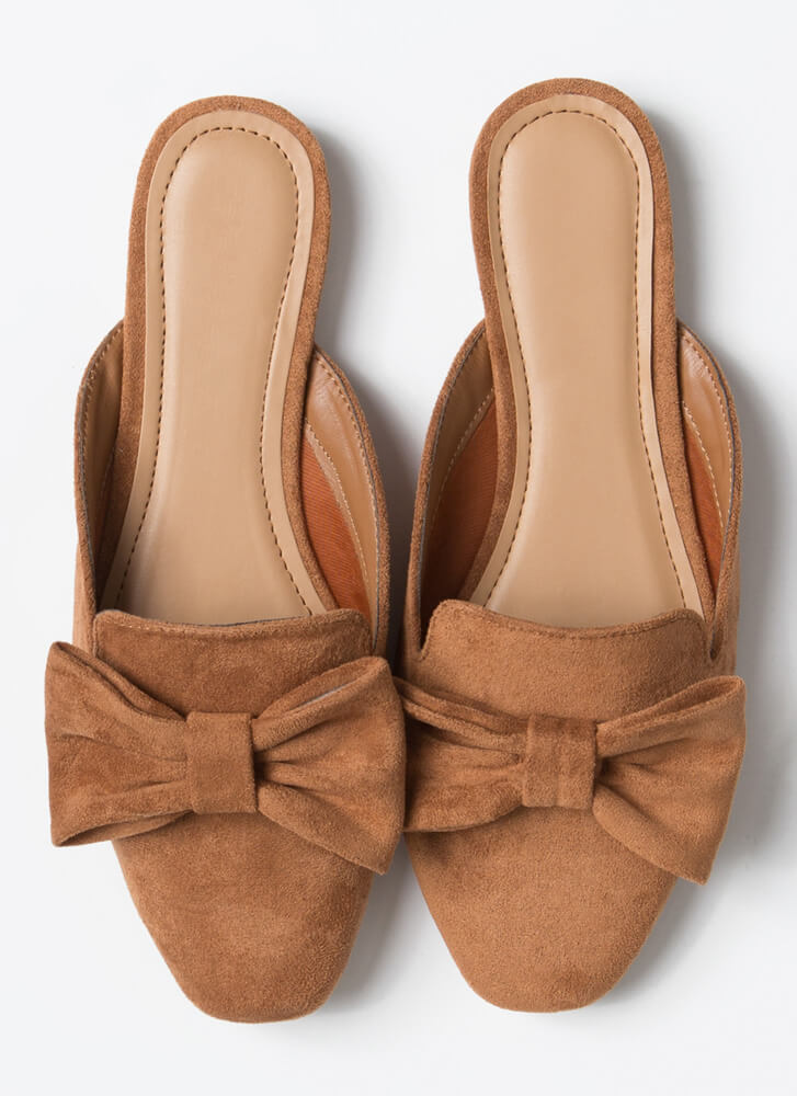 It's Time To Bow Up Faux Suede Mule Flats DARKCAMEL