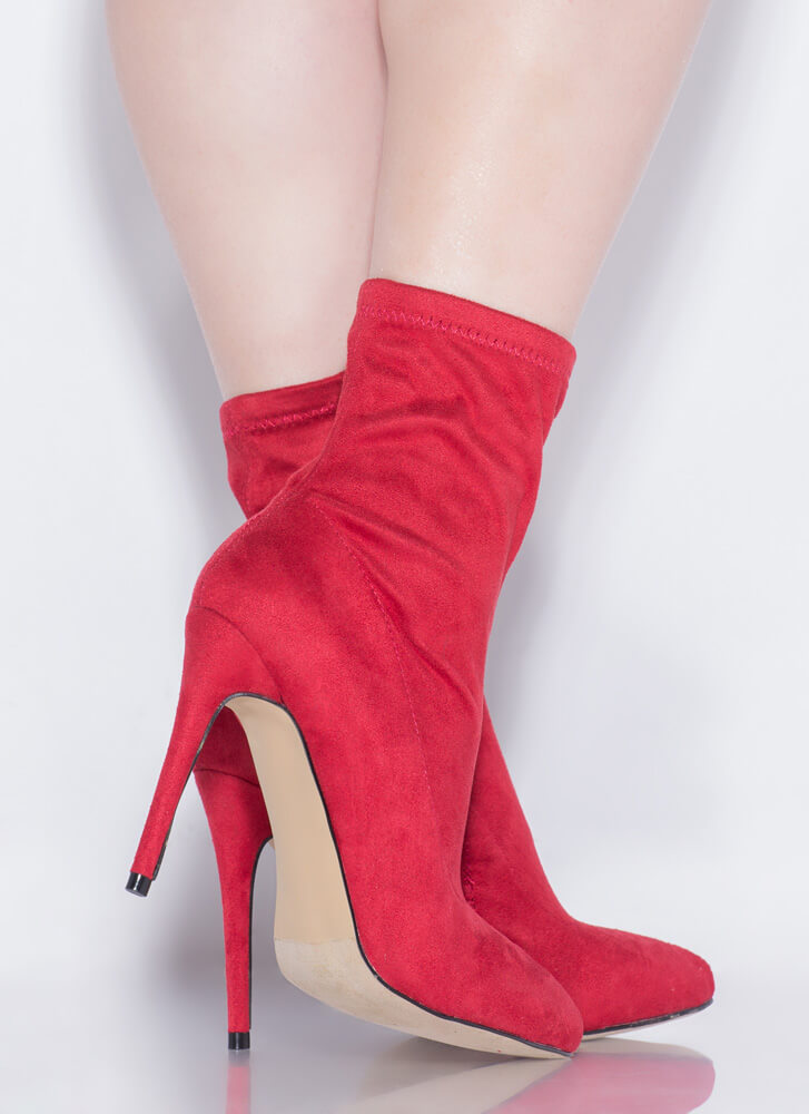 Keep It Short Faux Suede Sock Booties RED