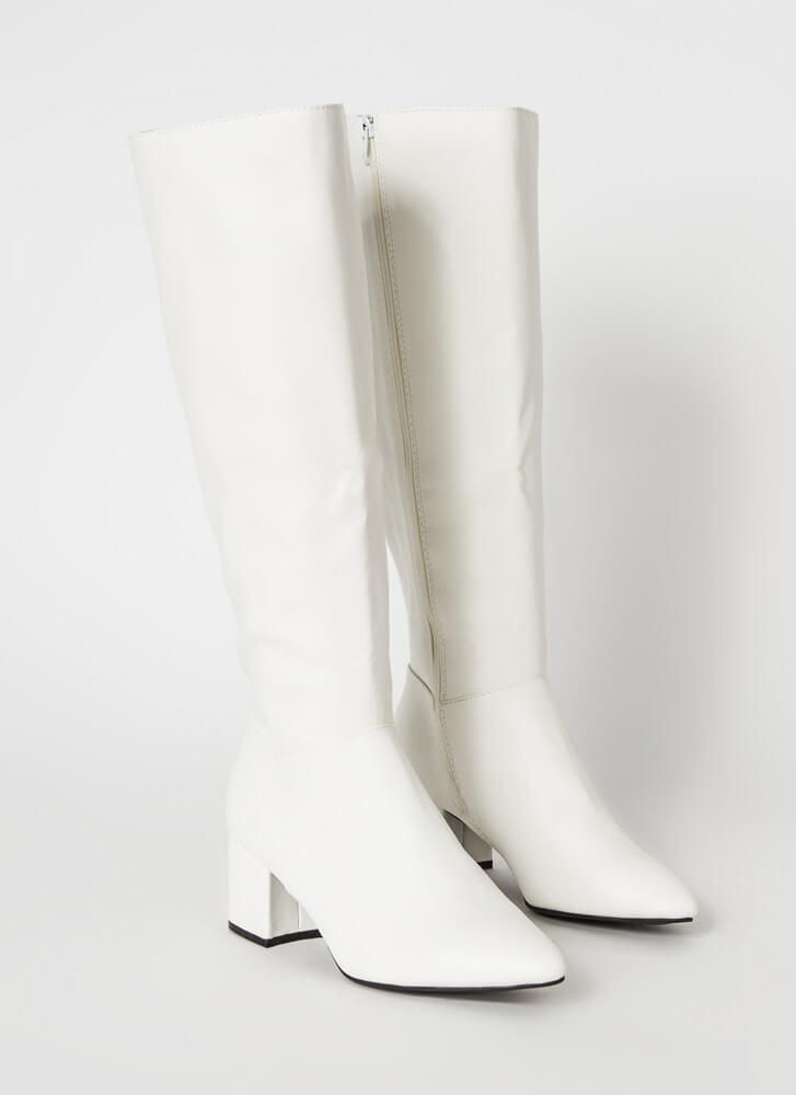 Knee-High Club Chunky Block-Heeled Boots WHITE