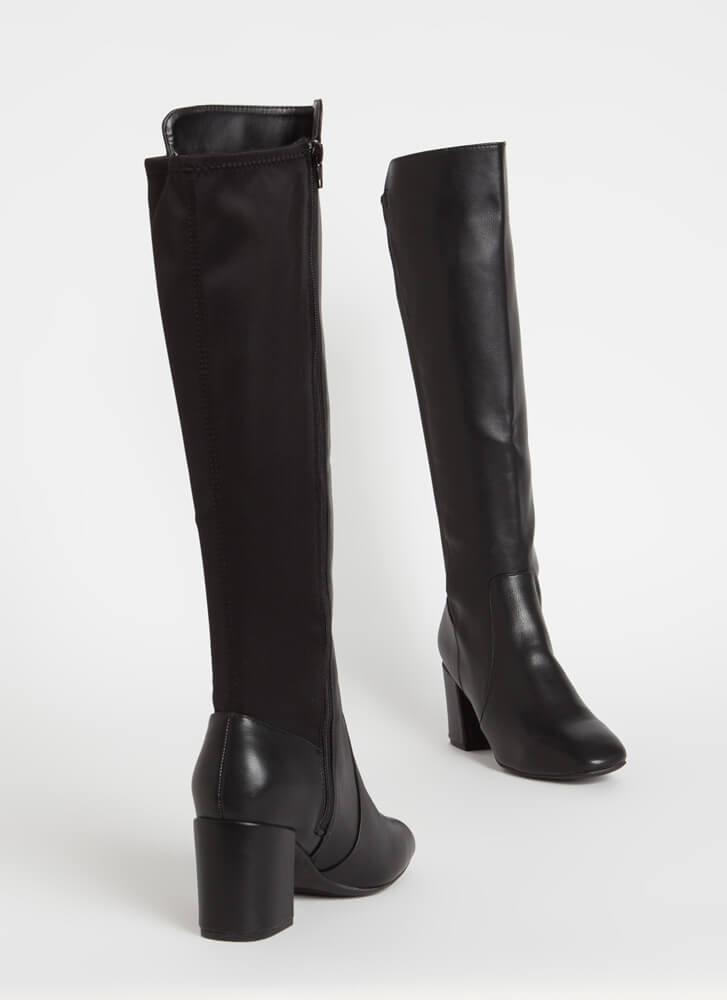 Essential Knee-High Chunky Heel Boots BLACK