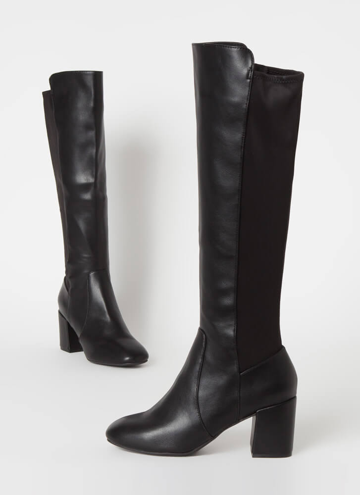 Perfect Faux Leather Over-The-Knee Boots BLACK