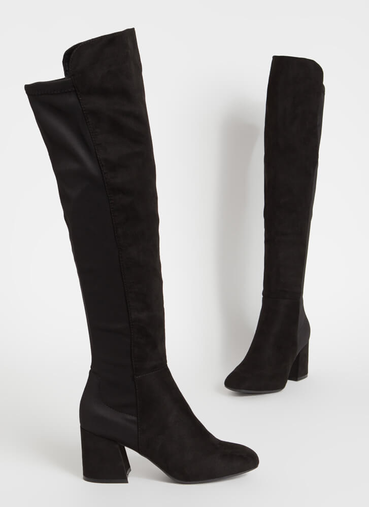 Perfect Faux Suede Over-The-Knee Boots BLACK