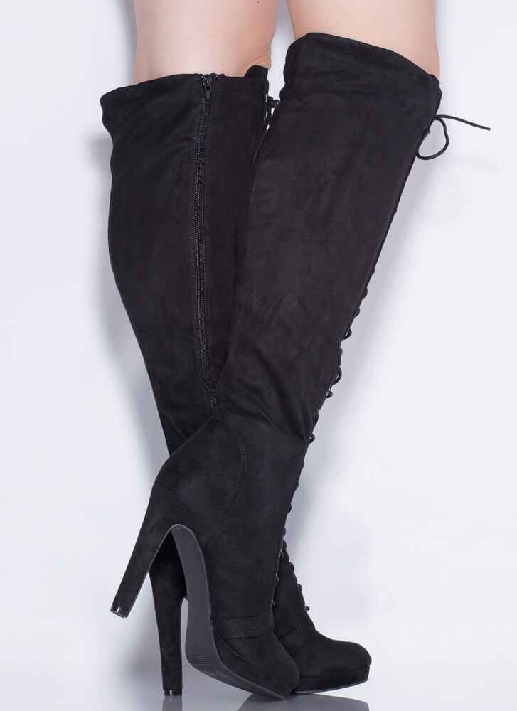Lace Me Up Over-The-Knee Boots BLACK